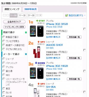 BCN Japan cellphone sales ranking 2009-07-07