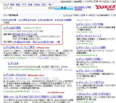 "Search by a TV program ""Ladies 4"" on Yahoo! Japan"